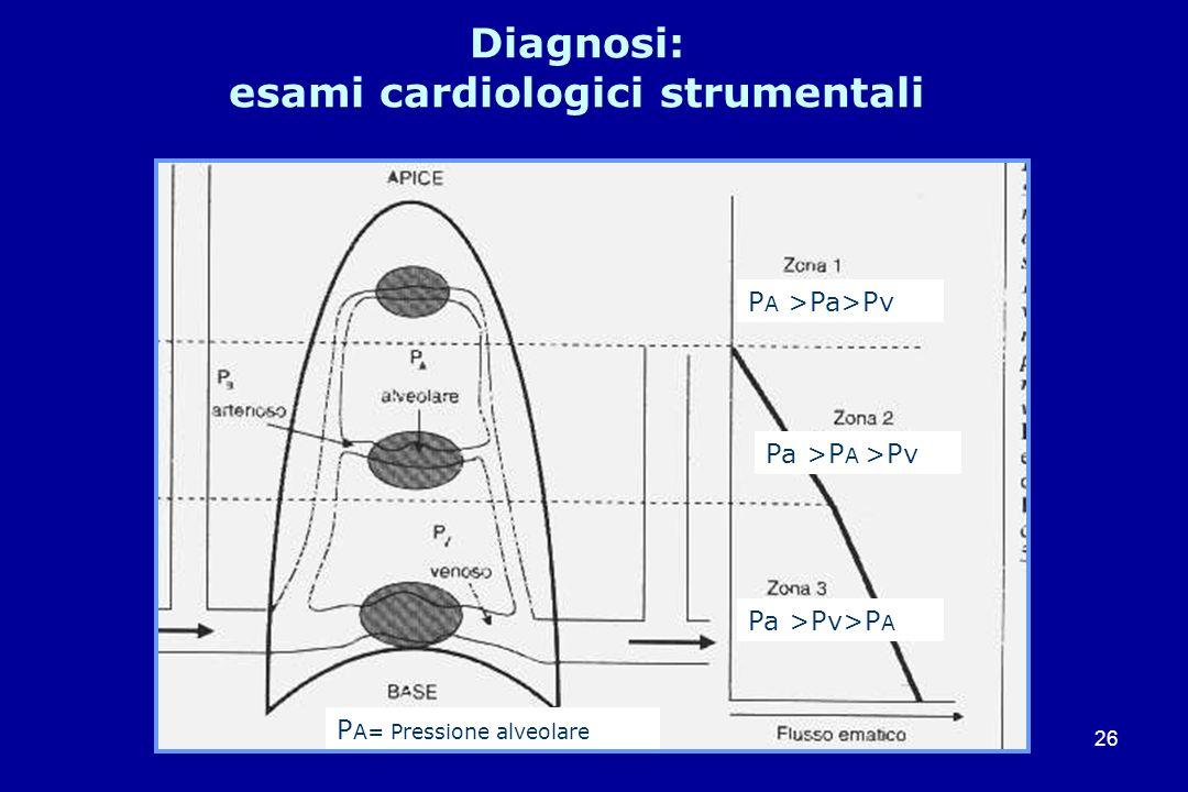 26 Diagnosi: esami cardiologici strumentali Pa >Pv>P A P A= Pressione alveolare P A >Pa>Pv Pa >P A >Pv
