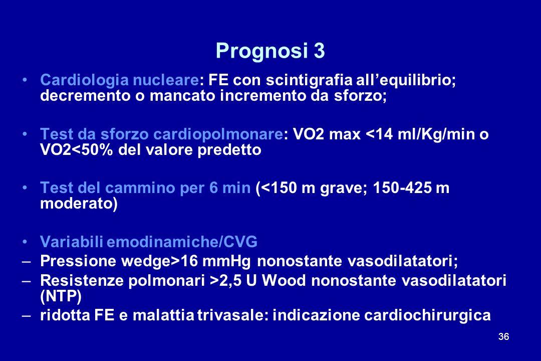 36 Prognosi 3 Cardiologia nucleare: FE con scintigrafia allequilibrio; decremento o mancato incremento da sforzo; Test da sforzo cardiopolmonare: VO2