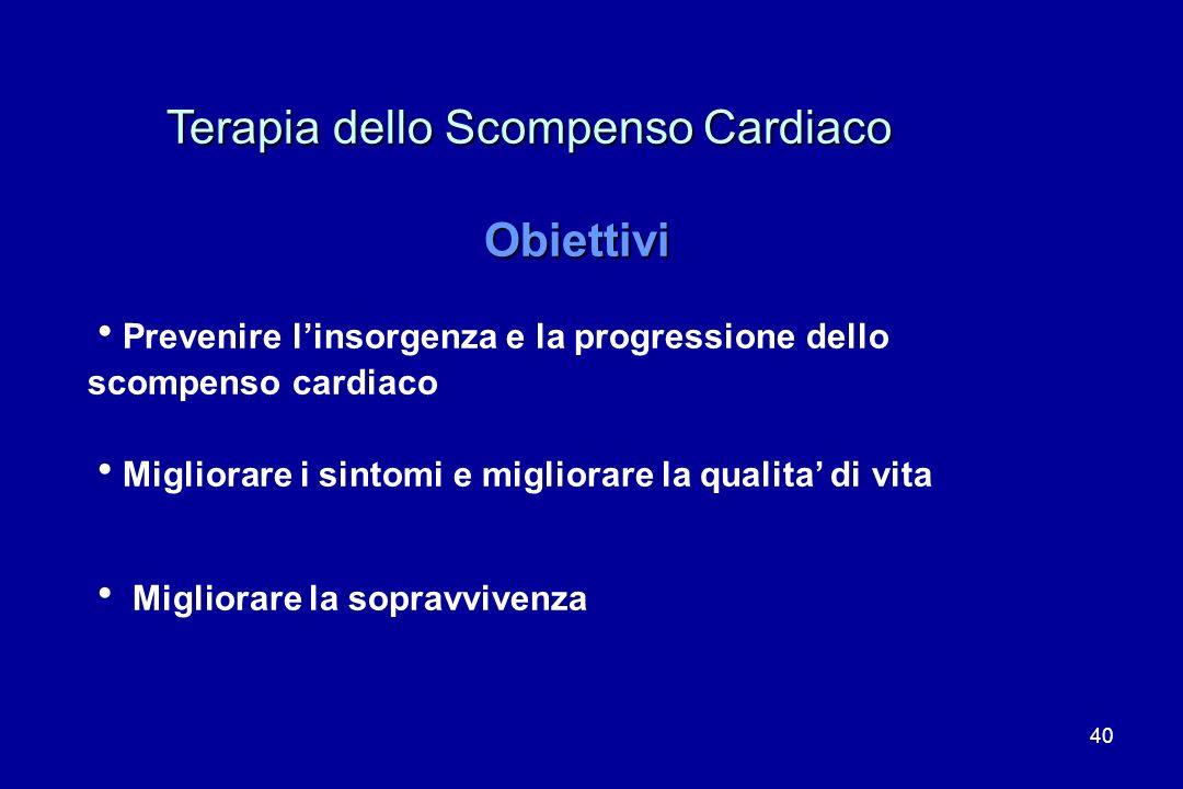 40 Terapia dello Scompenso Cardiaco Terapia dello Scompenso Cardiaco Obiettivi Prevenire linsorgenza e la progressione dello scompenso cardiaco Miglio