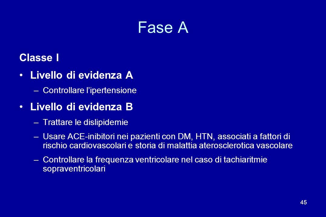 45 Fase A Classe I Livello di evidenza A –Controllare lipertensione Livello di evidenza B –Trattare le dislipidemie –Usare ACE-inibitori nei pazienti