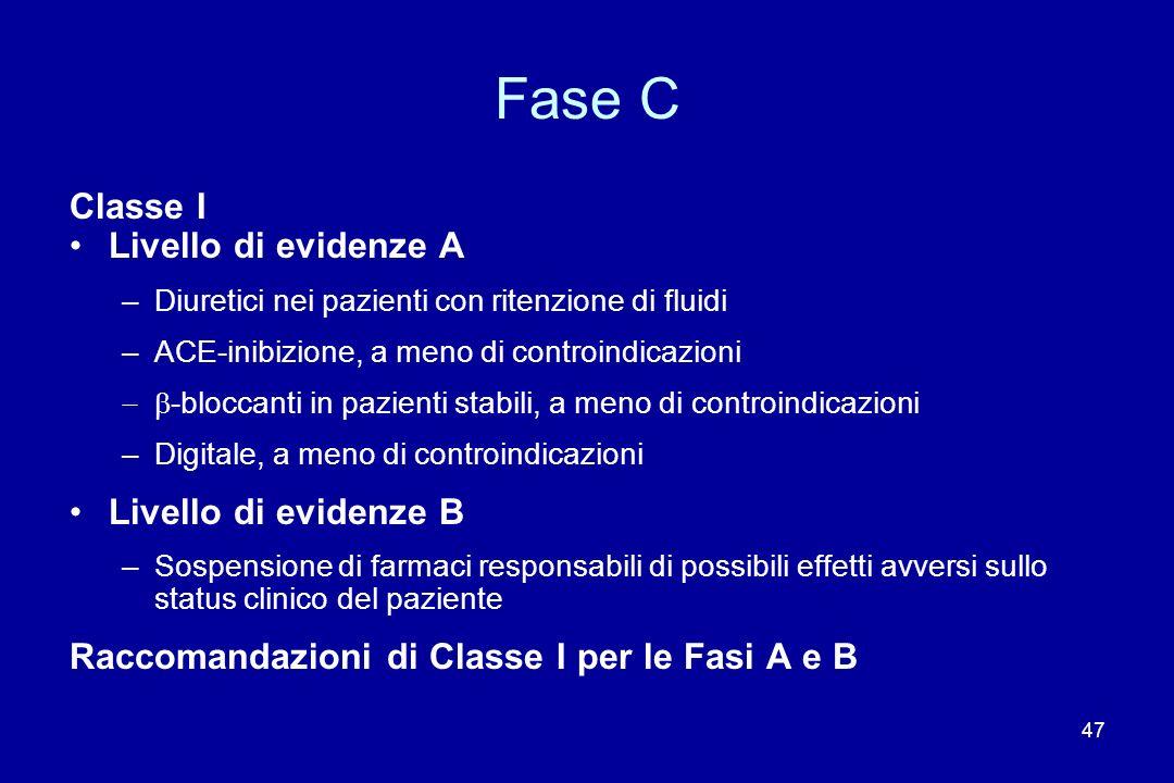 47 Fase C Classe I Livello di evidenze A –Diuretici nei pazienti con ritenzione di fluidi –ACE-inibizione, a meno di controindicazioni -bloccanti in p