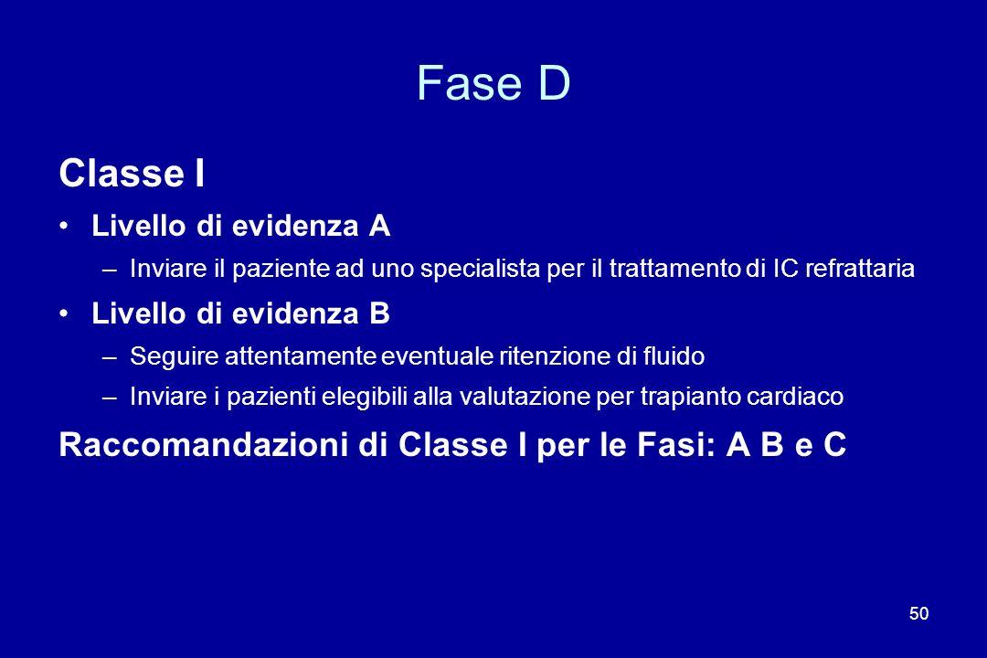 50 Fase D Classe I Livello di evidenza A –Inviare il paziente ad uno specialista per il trattamento di IC refrattaria Livello di evidenza B –Seguire a
