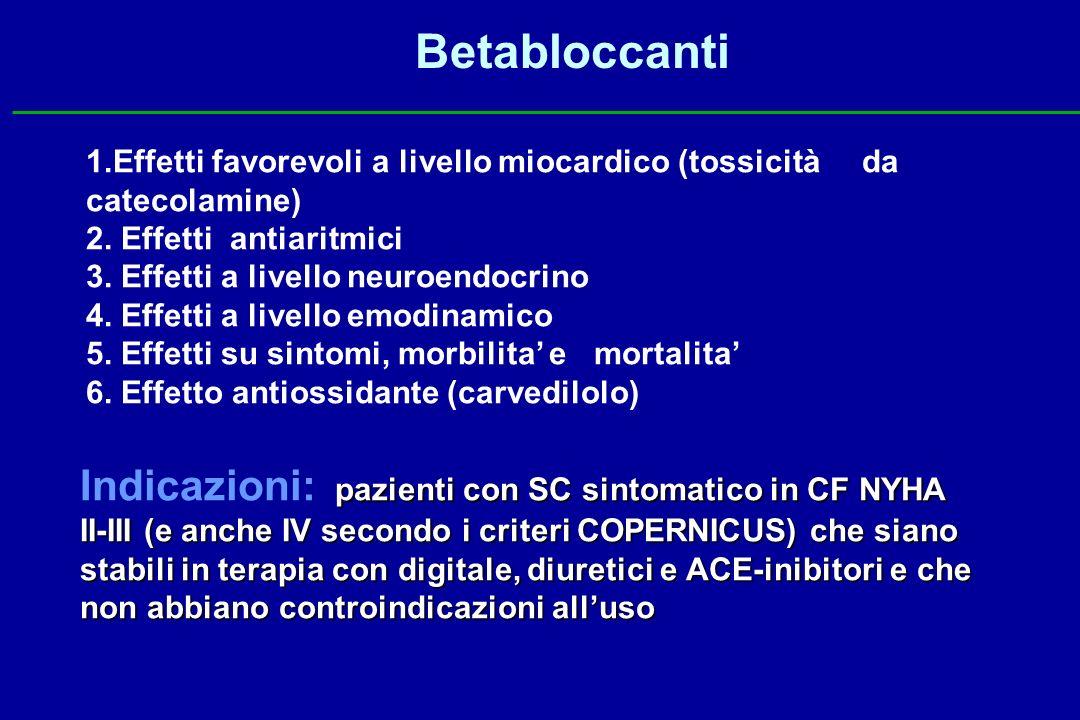 Betabloccanti 1.Effetti favorevoli a livello miocardico (tossicità da catecolamine) 2. Effetti antiaritmici 3. Effetti a livello neuroendocrino 4. Eff
