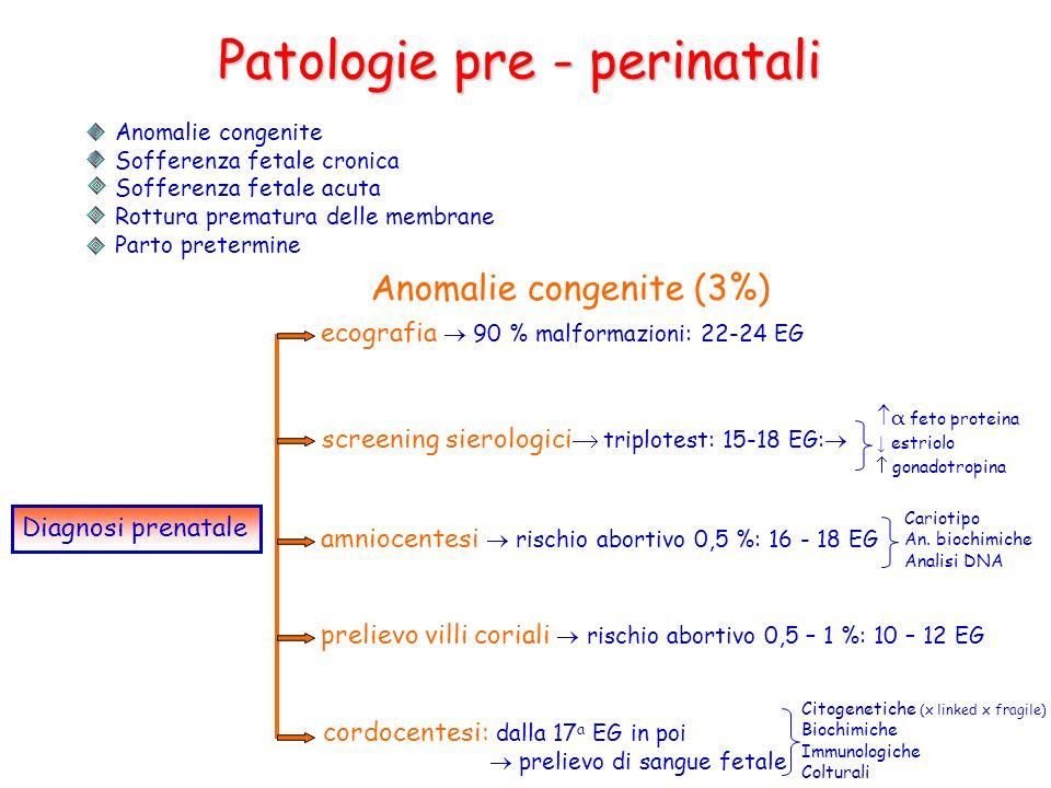 Patologie pre - perinatali Anomalie congenite Sofferenza fetale cronica Sofferenza fetale acuta Rottura prematura delle membrane Parto pretermine Anom