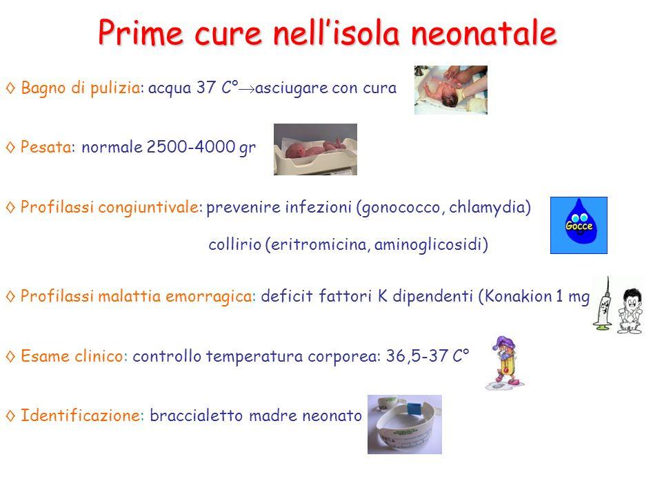 Prime cure nellisola neonatale Bagno di pulizia: acqua 37 C° asciugare con cura Pesata: normale 2500-4000 gr Profilassi congiuntivale: prevenire infez