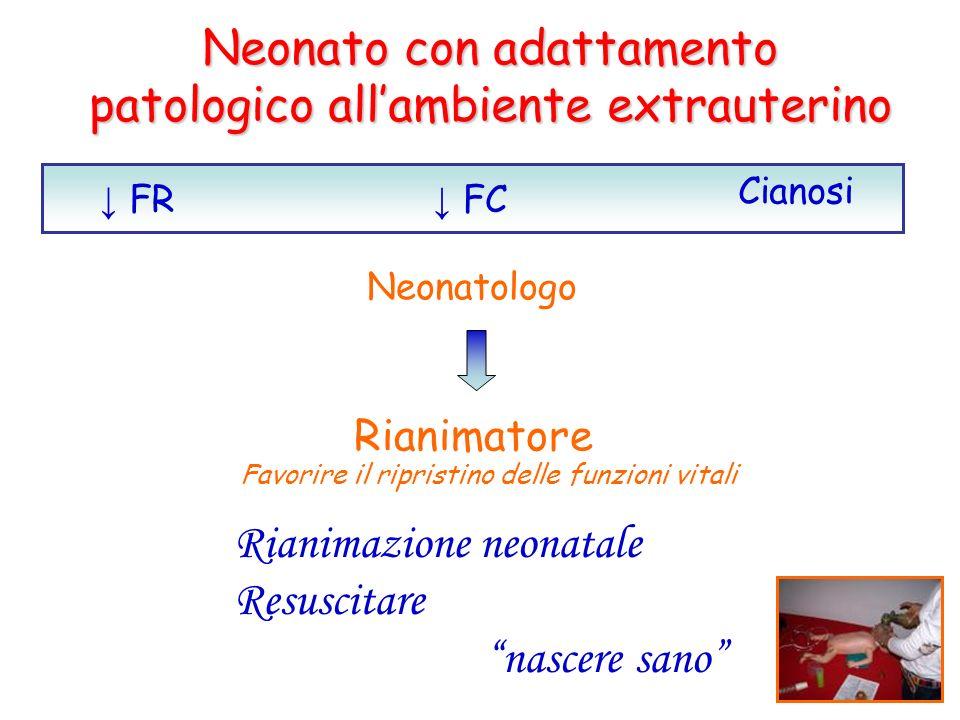 Neonato con adattamento patologico allambiente extrauterino FR FC Cianosi Neonatologo Rianimatore Favorire il ripristino delle funzioni vitali Rianima