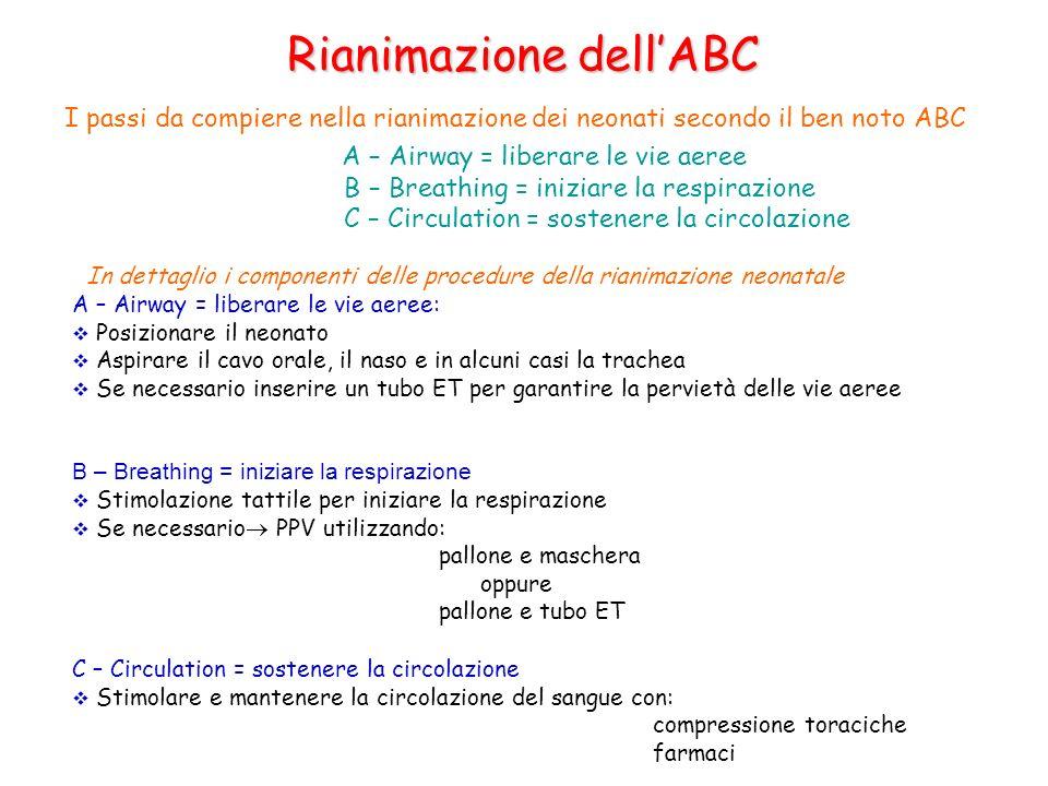 Rianimazione dellABC I passi da compiere nella rianimazione dei neonati secondo il ben noto ABC A – Airway = liberare le vie aeree B – Breathing = ini