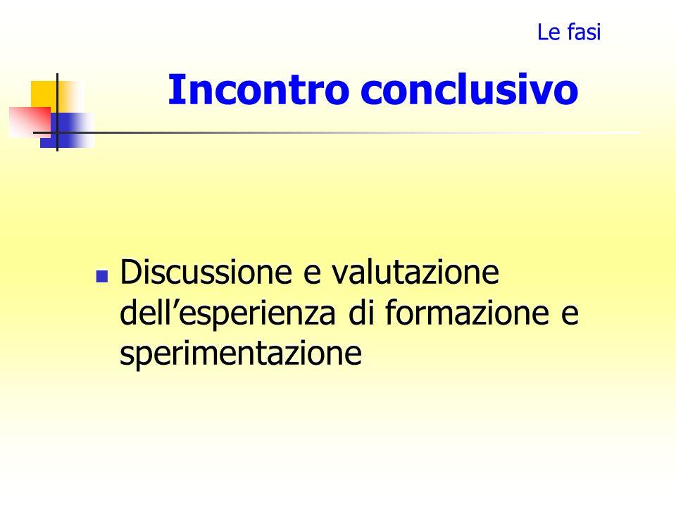Incontro conclusivo Discussione e valutazione dellesperienza di formazione e sperimentazione Le fasi