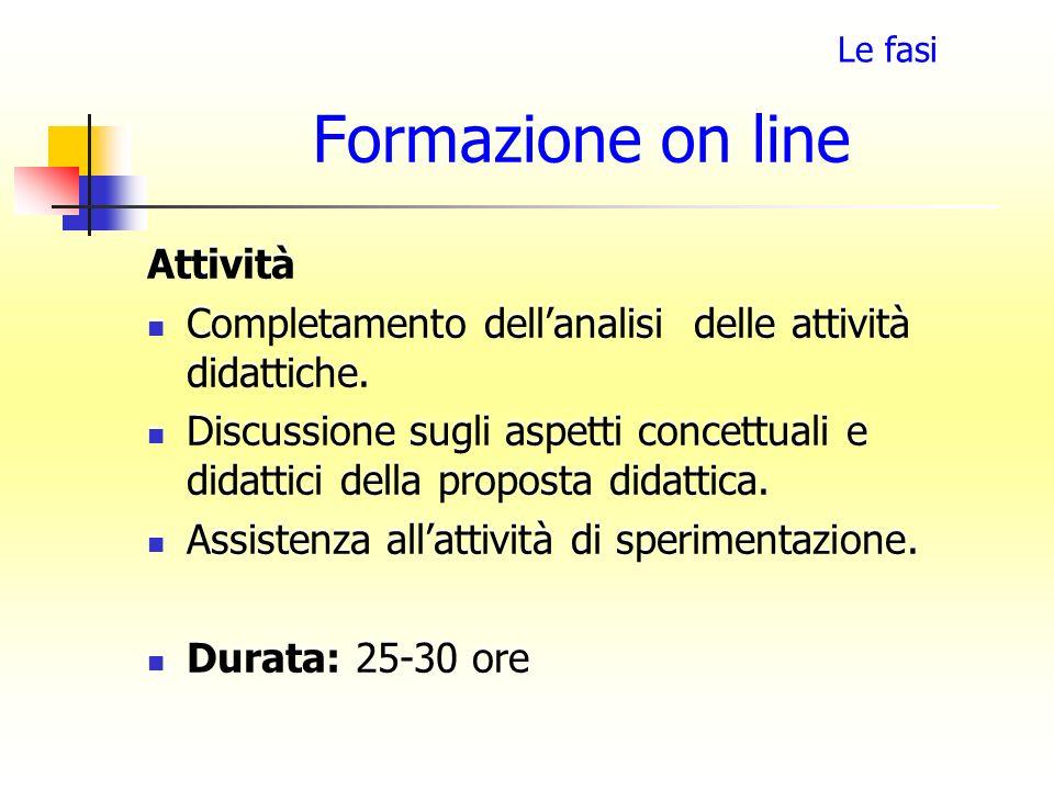 Formazione on line Attività Completamento dellanalisi delle attività didattiche. Discussione sugli aspetti concettuali e didattici della proposta dida
