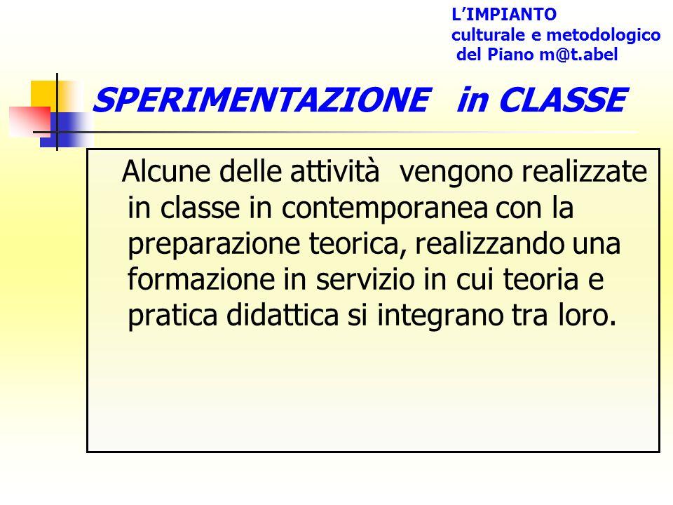 SPERIMENTAZIONE in CLASSE Alcune delle attività vengono realizzate in classe in contemporanea con la preparazione teorica, realizzando una formazione