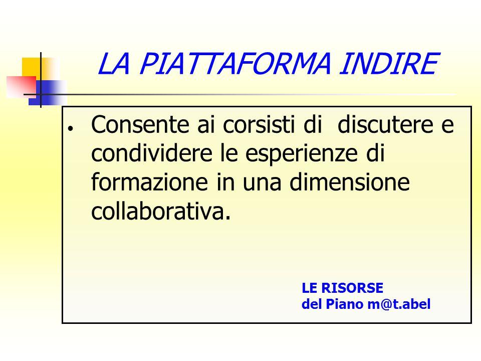 LA PIATTAFORMA INDIRE Consente ai corsisti di discutere e condividere le esperienze di formazione in una dimensione collaborativa.