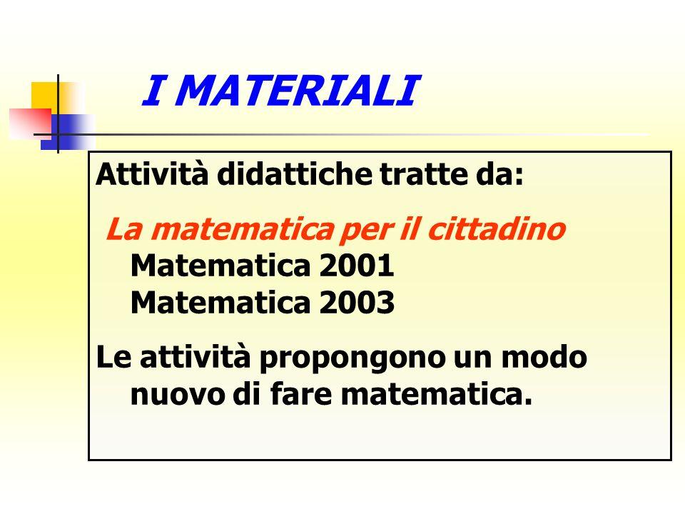 Attività didattiche tratte da: La matematica per il cittadino Matematica 2001 Matematica 2003 Le attività propongono un modo nuovo di fare matematica.