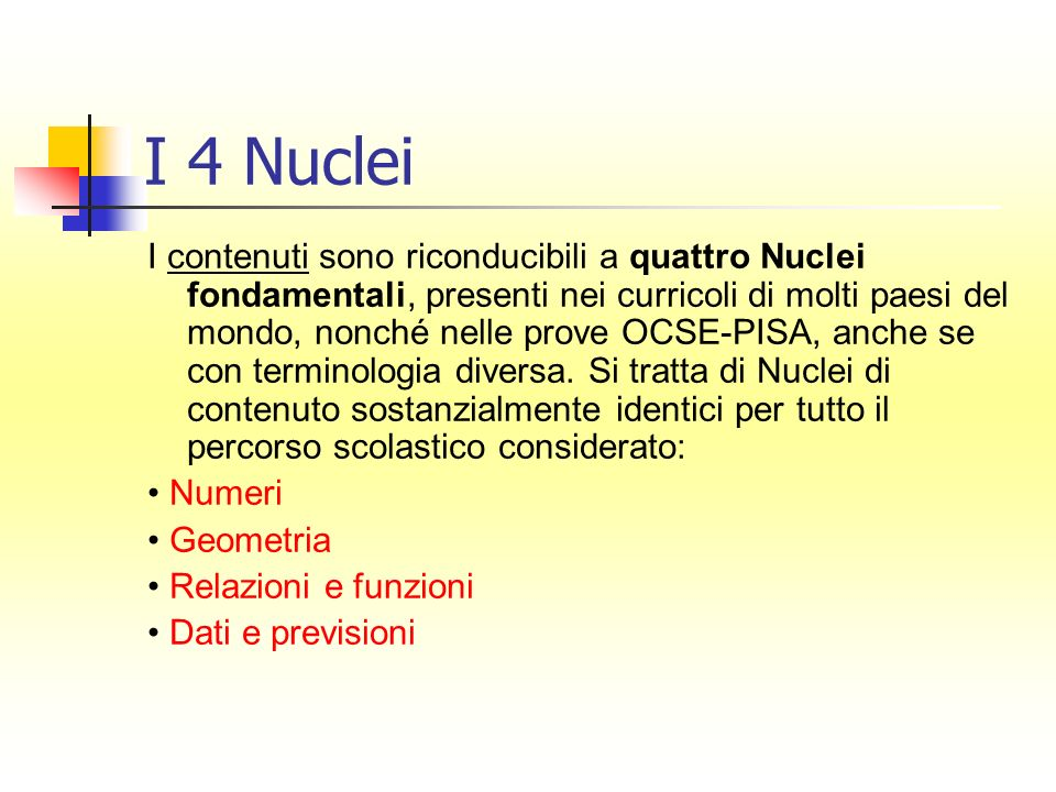 I 4 Nuclei I contenuti sono riconducibili a quattro Nuclei fondamentali, presenti nei curricoli di molti paesi del mondo, nonché nelle prove OCSE-PISA, anche se con terminologia diversa.