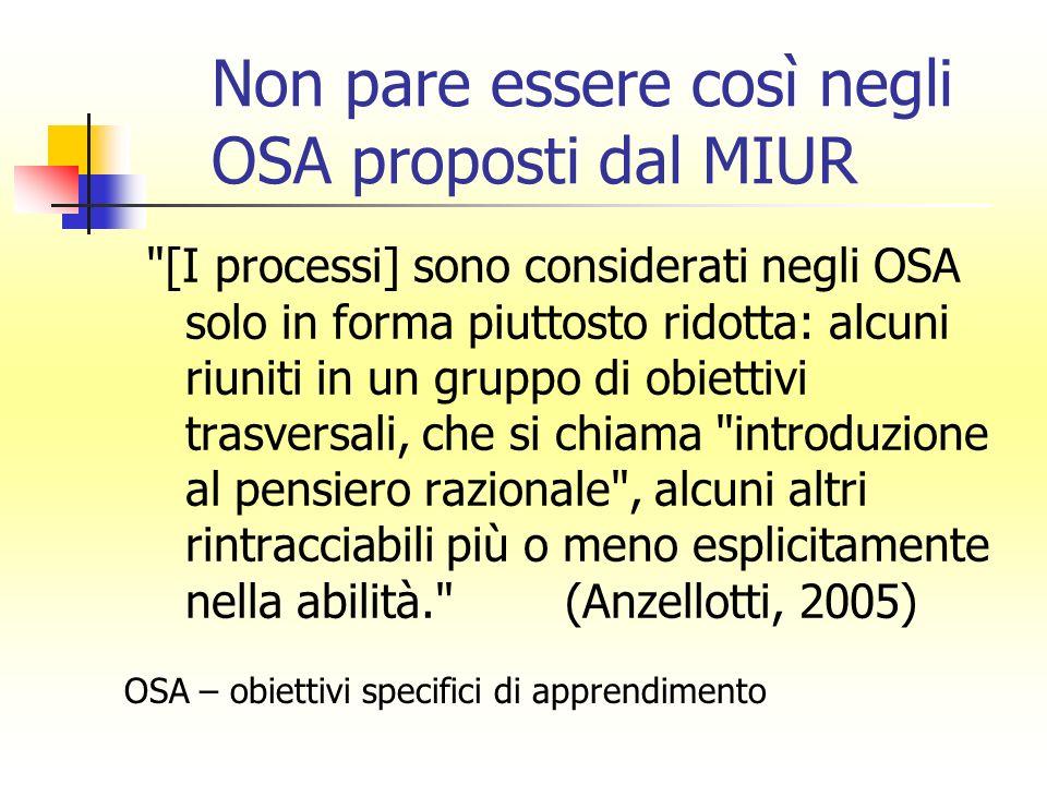 Non pare essere così negli OSA proposti dal MIUR OSA – obiettivi specifici di apprendimento