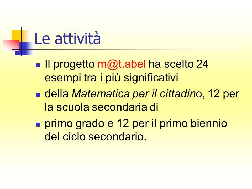 Il progetto m@t.abel ha scelto 24 esempi tra i più significativi della Matematica per il cittadino, 12 per la scuola secondaria di primo grado e 12 pe