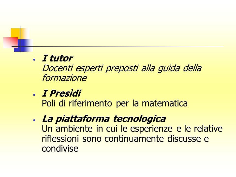 I tutor Docenti esperti preposti alla guida della formazione I Presìdi Poli di riferimento per la matematica La piattaforma tecnologica Un ambiente in