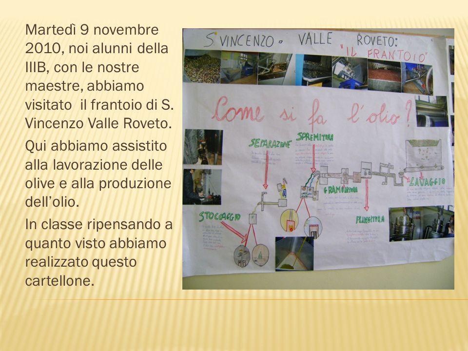 Martedì 9 novembre 2010, noi alunni della IIIB, con le nostre maestre, abbiamo visitato il frantoio di S. Vincenzo Valle Roveto. Qui abbiamo assistito