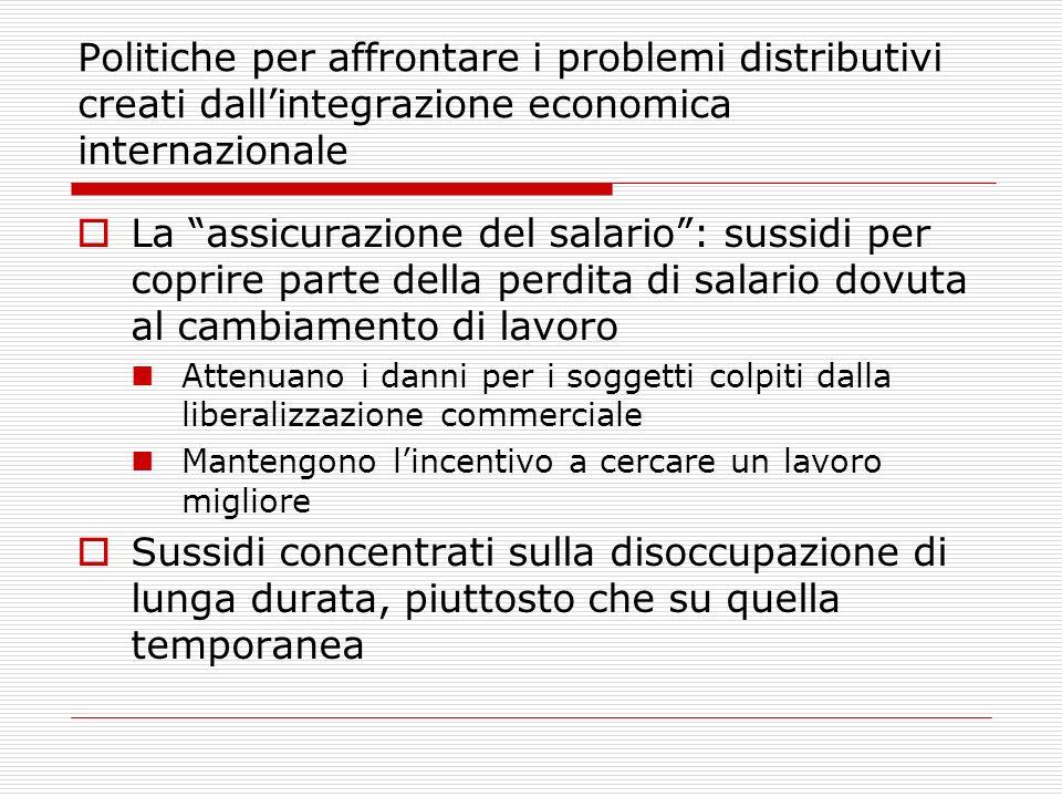 Politiche per affrontare i problemi distributivi creati dallintegrazione economica internazionale La assicurazione del salario: sussidi per coprire pa