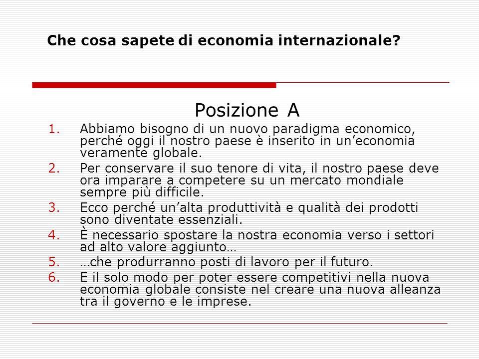 Che cosa sapete di economia internazionale? Posizione A 1.Abbiamo bisogno di un nuovo paradigma economico, perché oggi il nostro paese è inserito in u