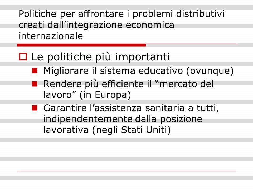 Politiche per affrontare i problemi distributivi creati dallintegrazione economica internazionale Le politiche più importanti Migliorare il sistema educativo (ovunque) Rendere più efficiente il mercato del lavoro (in Europa) Garantire lassistenza sanitaria a tutti, indipendentemente dalla posizione lavorativa (negli Stati Uniti)