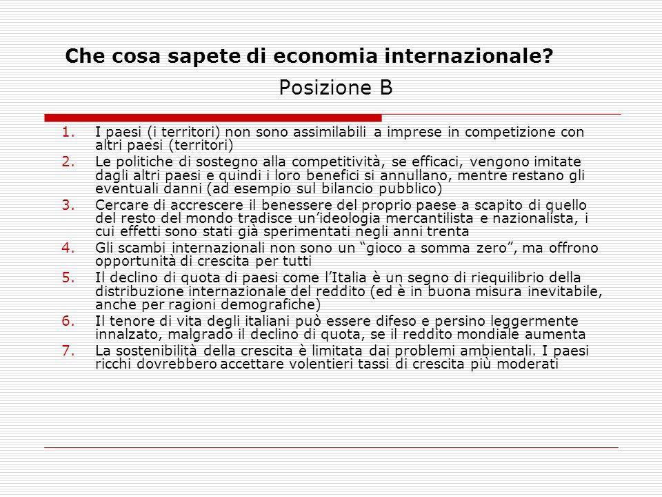 Che cosa sapete di economia internazionale? Posizione B 1.I paesi (i territori) non sono assimilabili a imprese in competizione con altri paesi (terri