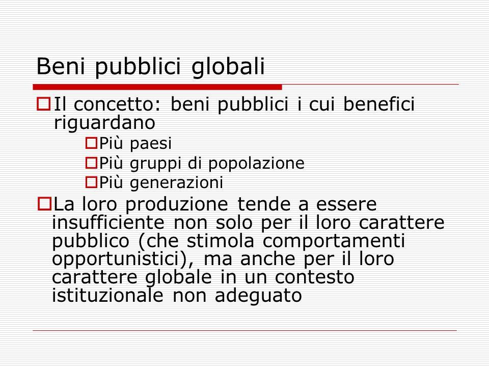 Beni pubblici globali Il concetto: beni pubblici i cui benefici riguardano Più paesi Più gruppi di popolazione Più generazioni La loro produzione tend