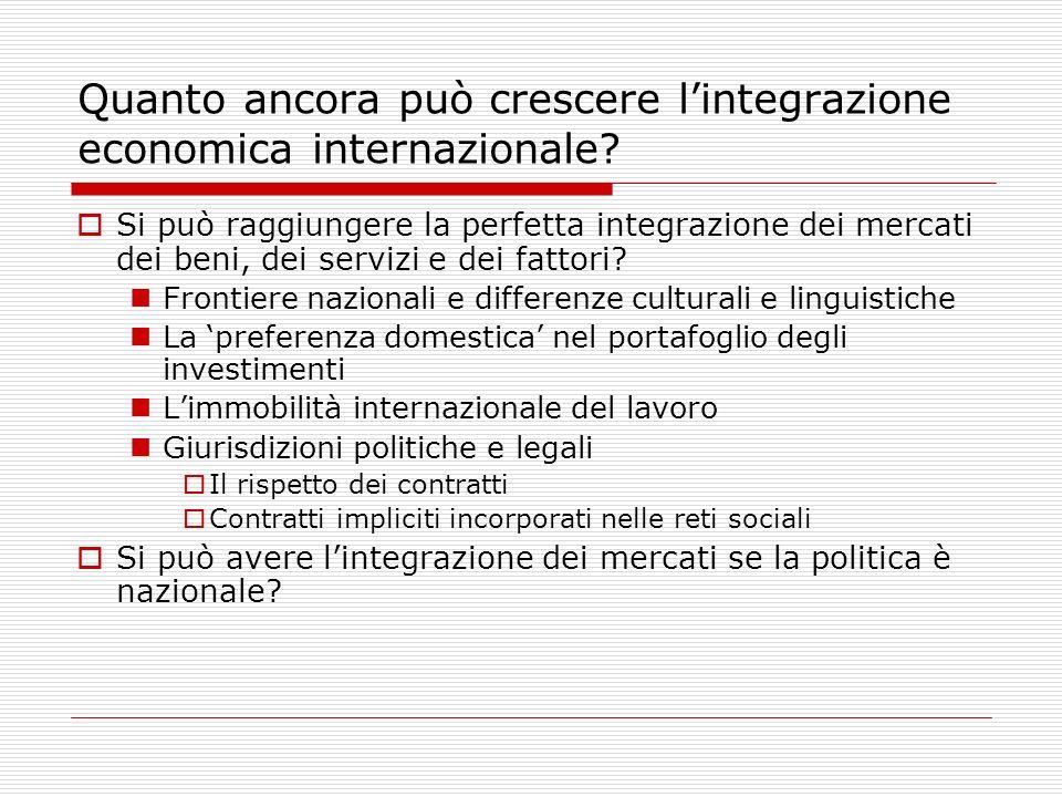 Quanto ancora può crescere lintegrazione economica internazionale.