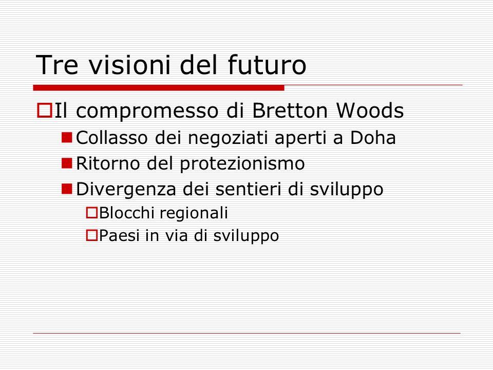 Tre visioni del futuro Il compromesso di Bretton Woods Collasso dei negoziati aperti a Doha Ritorno del protezionismo Divergenza dei sentieri di sviluppo Blocchi regionali Paesi in via di sviluppo