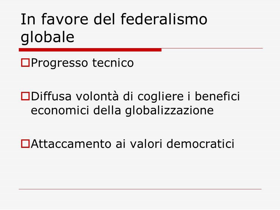In favore del federalismo globale Progresso tecnico Diffusa volontà di cogliere i benefici economici della globalizzazione Attaccamento ai valori democratici