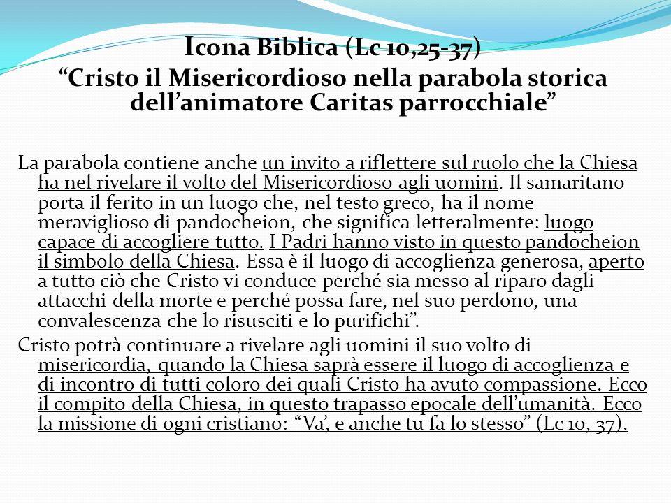 I cona Biblica (Lc 10,25-37) Cristo il Misericordioso nella parabola storica dellanimatore Caritas parrocchiale La parabola contiene anche un invito a
