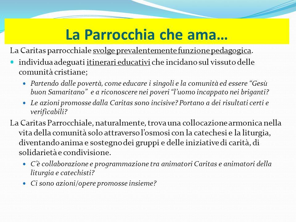 La Parrocchia che ama… La Caritas parrocchiale svolge prevalentemente funzione pedagogica. individua adeguati itinerari educativi che incidano sul vis