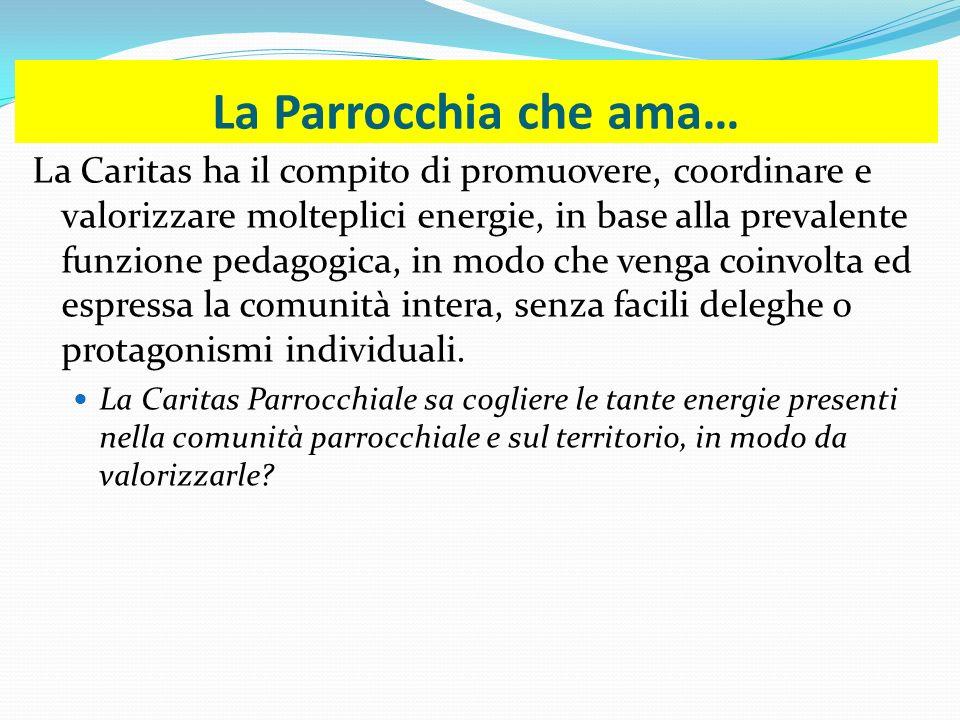 La Parrocchia che ama… La Caritas ha il compito di promuovere, coordinare e valorizzare molteplici energie, in base alla prevalente funzione pedagogic