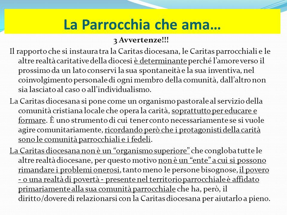 La Parrocchia che ama… 3 Avvertenze!!! Il rapporto che si instaura tra la Caritas diocesana, le Caritas parrocchiali e le altre realtà caritative dell