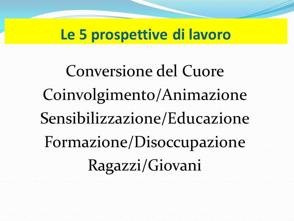 Le 5 prospettive di lavoro Conversione del Cuore Coinvolgimento/Animazione Sensibilizzazione/Educazione Formazione/Disoccupazione Ragazzi/Giovani
