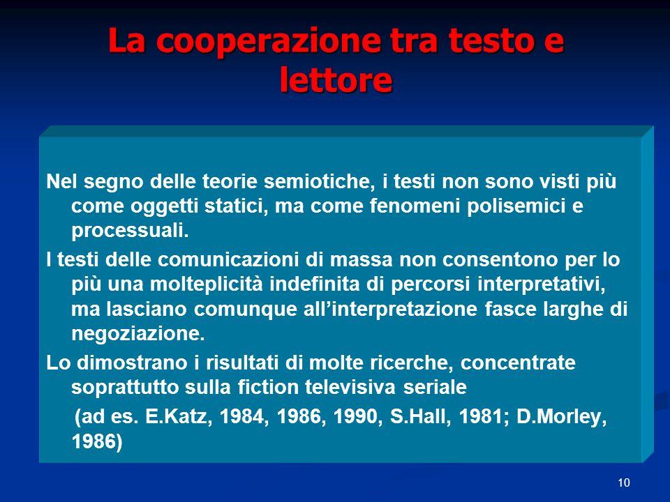 10 La cooperazione tra testo e lettore Nel segno delle teorie semiotiche, i testi non sono visti più come oggetti statici, ma come fenomeni polisemici e processuali.