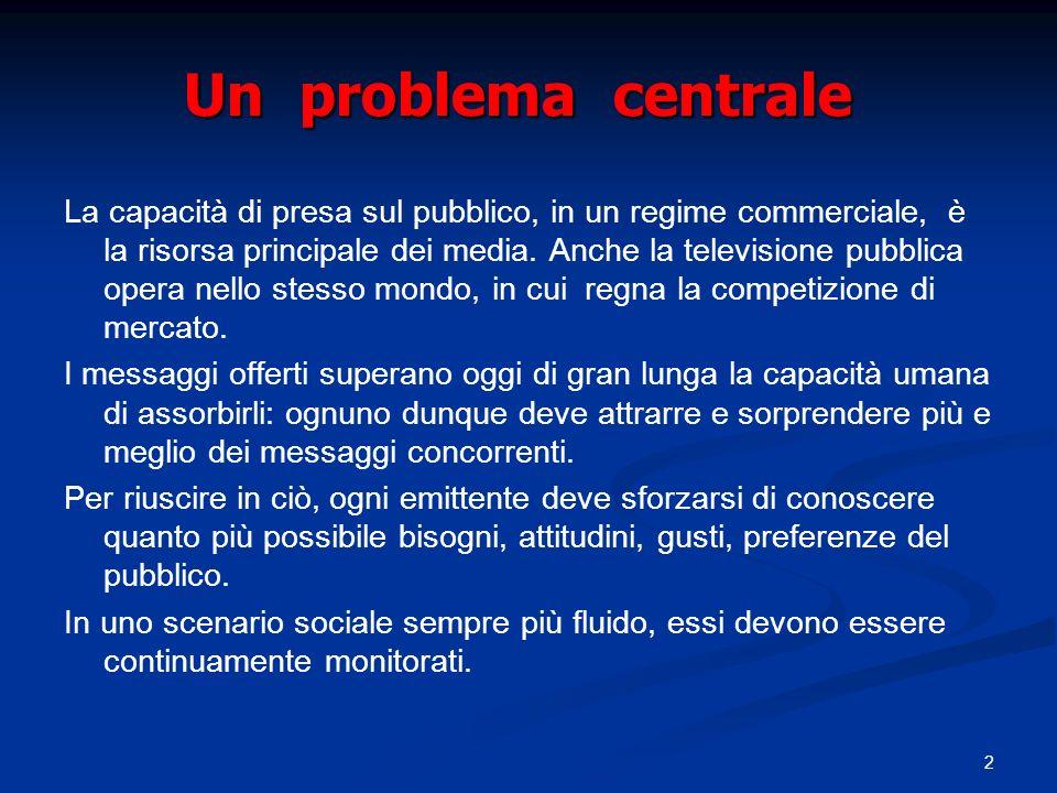 2 Un problema centrale La capacità di presa sul pubblico, in un regime commerciale, è la risorsa principale dei media.