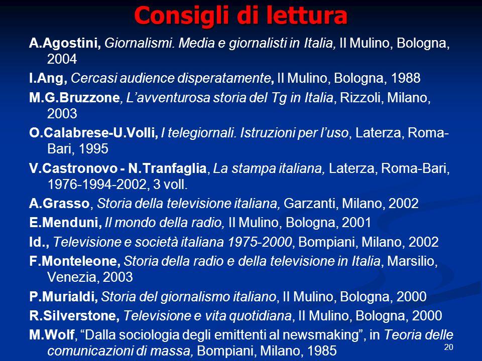20 Consigli di lettura A.Agostini, Giornalismi.