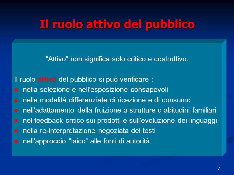 7 Il ruolo attivo del pubblico Attivo non significa solo critico e costruttivo.