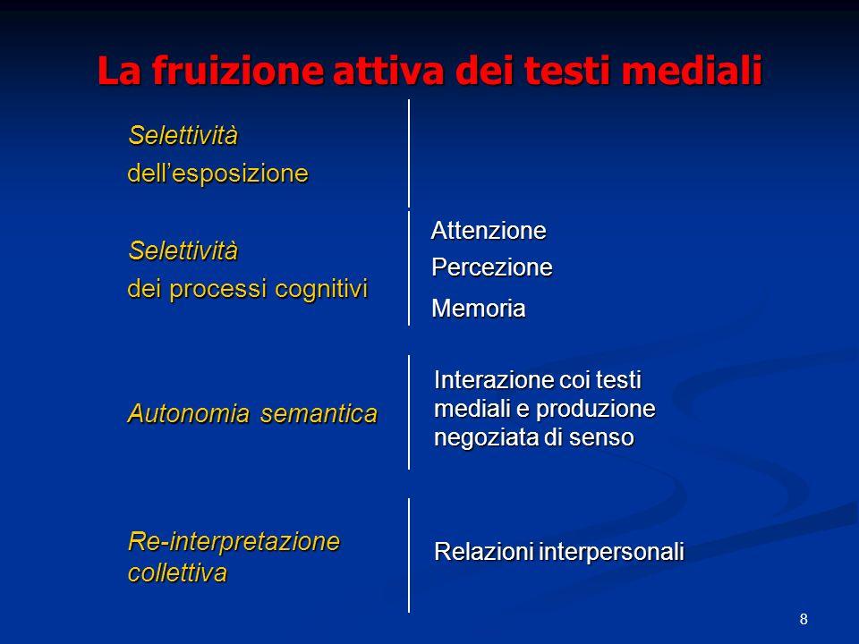 8 La fruizione attiva dei testi mediali Memoria Percezione AttenzioneSelettività dei processi cognitivi Autonomia semantica Interazione coi testi mediali e produzione negoziata di senso Re-interpretazione collettiva Relazioni interpersonali Selettivitàdellesposizione
