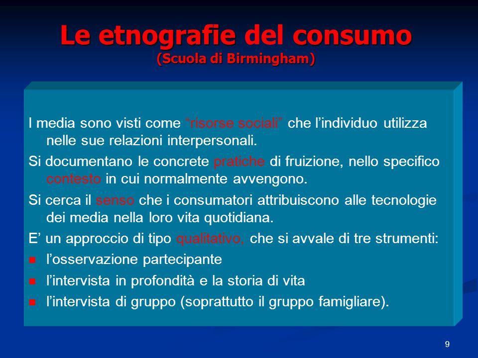 9 Le etnografie consumo (Scuola di Birmingham) Le etnografie del consumo (Scuola di Birmingham) I media sono visti come risorse sociali che lindividuo utilizza nelle sue relazioni interpersonali.
