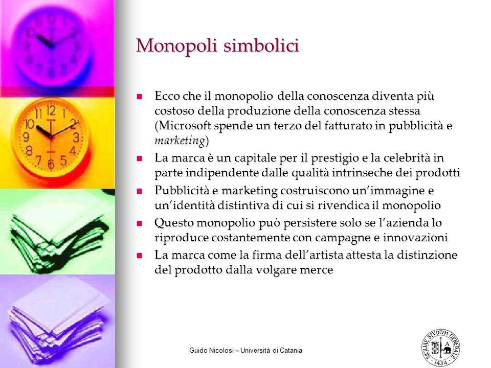 Guido Nicolosi – Università di Catania Monopoli simbolici Ecco che il monopolio della conoscenza diventa più costoso della produzione della conoscenza