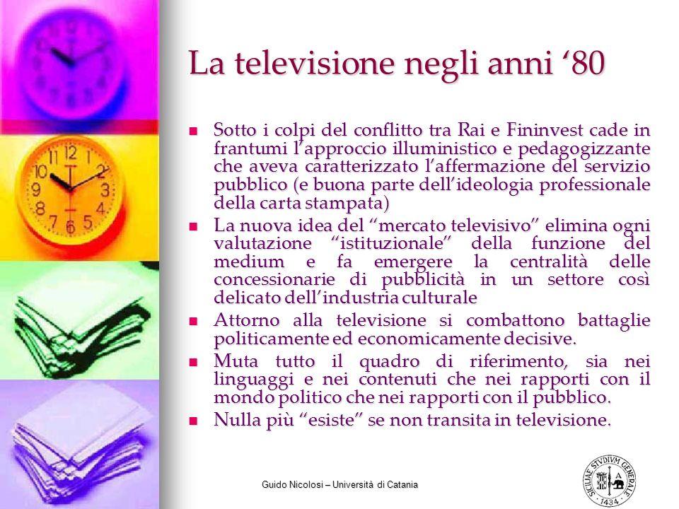 Guido Nicolosi – Università di Catania La televisione negli anni 80 Sotto i colpi del conflitto tra Rai e Fininvest cade in frantumi lapproccio illumi