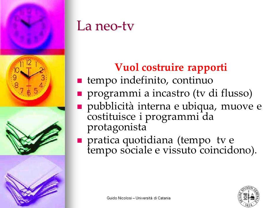 Guido Nicolosi – Università di Catania La neo-tv Vuol costruire rapporti tempo indefinito, continuo programmi a incastro (tv di flusso) pubblicità int