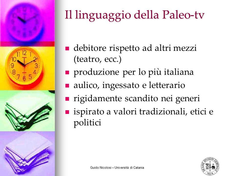Guido Nicolosi – Università di Catania Il linguaggio della Paleo-tv debitore rispetto ad altri mezzi (teatro, ecc.) produzione per lo più italiana aul