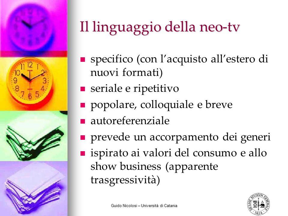 Guido Nicolosi – Università di Catania Il linguaggio della neo-tv specifico (con lacquisto allestero di nuovi formati) seriale e ripetitivo popolare,