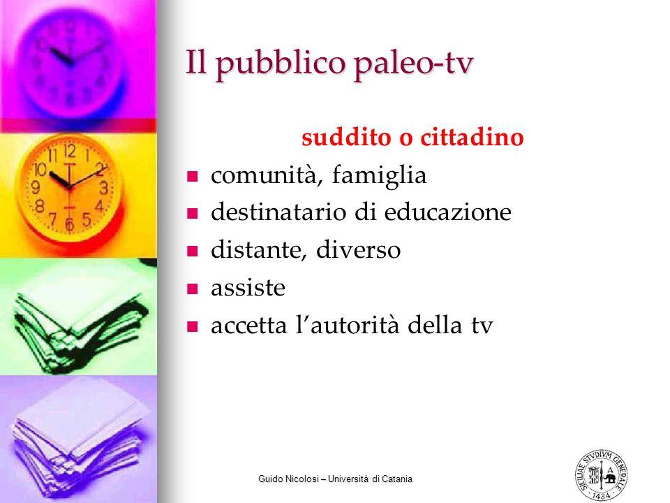 Guido Nicolosi – Università di Catania Il pubblico paleo-tv suddito o cittadino comunità, famiglia destinatario di educazione distante, diverso assist