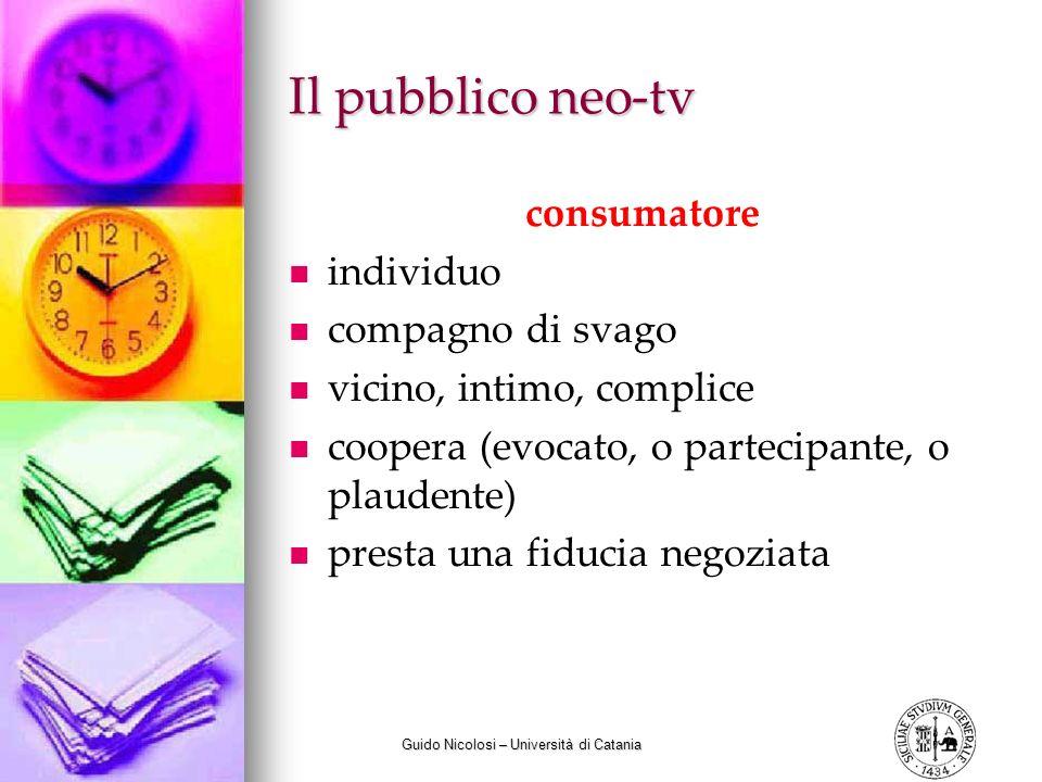Guido Nicolosi – Università di Catania Il pubblico neo-tv consumatore individuo compagno di svago vicino, intimo, complice coopera (evocato, o parteci