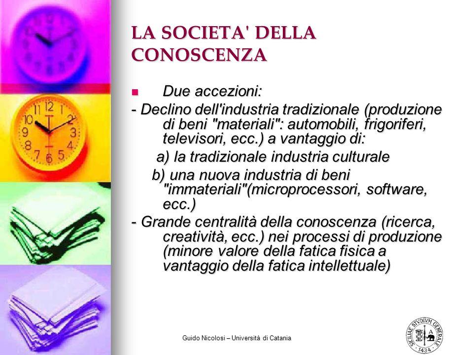 Guido Nicolosi – Università di Catania LA SOCIETA' DELLA CONOSCENZA Due accezioni: Due accezioni: - Declino dell'industria tradizionale (produzione di