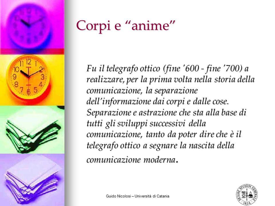 Guido Nicolosi – Università di Catania Corpi e anime Fu il telegrafo ottico (fine '600 - fine '700) a realizzare, per la prima volta nella storia dell
