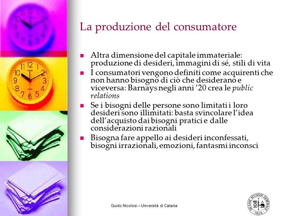 Guido Nicolosi – Università di Catania La produzione del consumatore Altra dimensione del capitale immateriale: produzione di desideri, immagini di sé